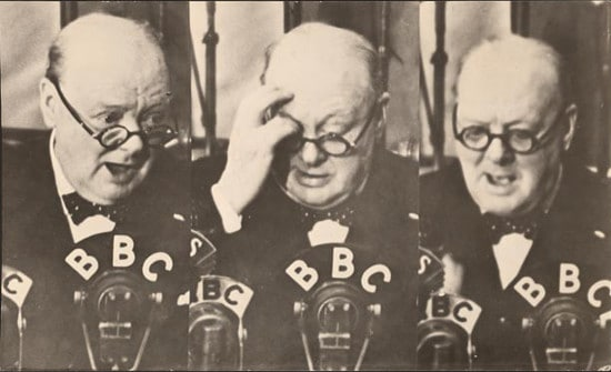 Winston churchill speaking on bbc radio.