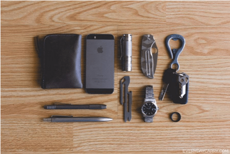 Edc everyday carry lineup phone wallet pens watch knife.