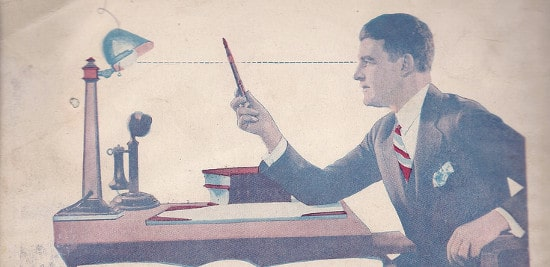 A man with fountain pen at desk illustration.