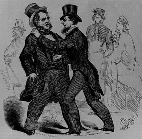 Vintage victorian illustration pickpocket robbing man.