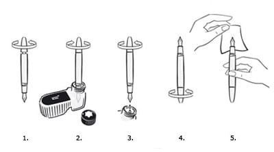 vintage fountain pen piston illustration diagram