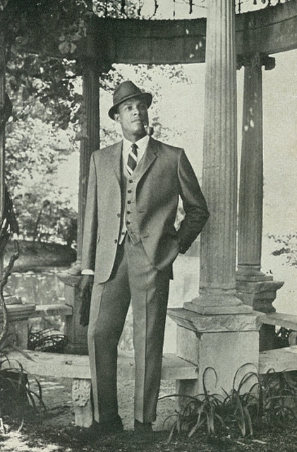 vintage african american black man wearing 3 piece suit