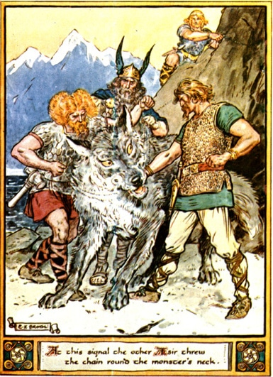 Tyr norse god giving arm to fenrir illustration painting.