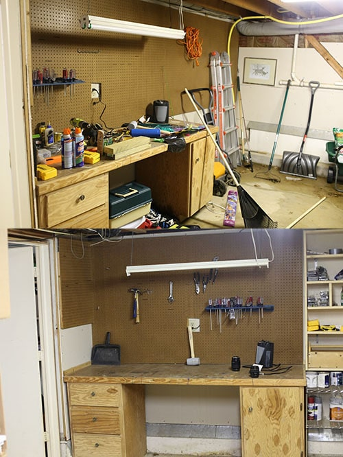 Before and after garage workshop.