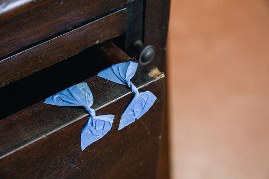 Blue tape in butterfly Shape.