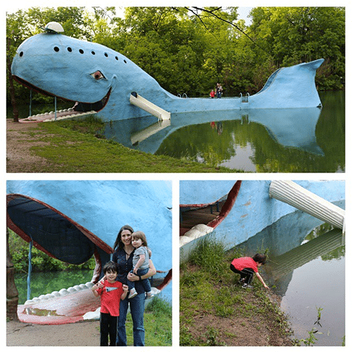 giant blue whale concrete statue in oklahoma