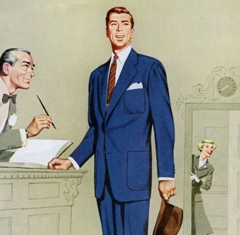 vintage 1950s man at hotel concierge