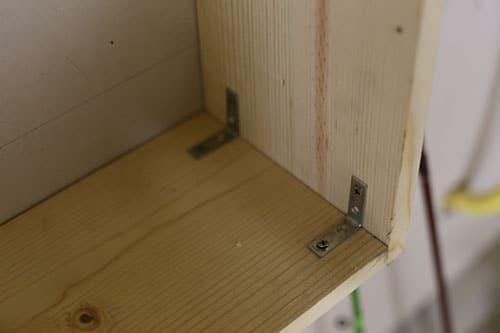 Corner braces wooden frame.