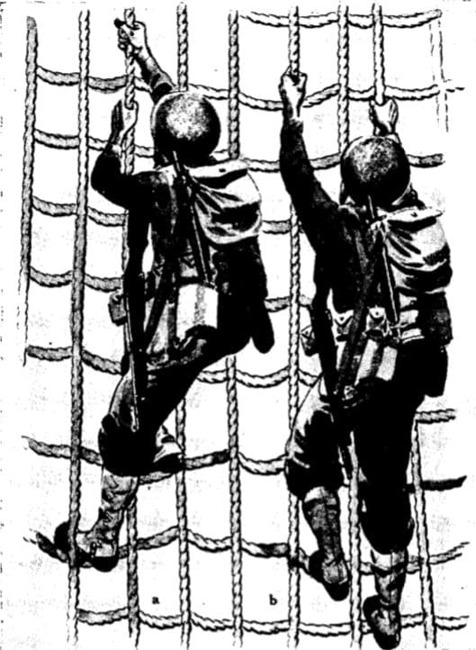 vintage wwii climbing down cargo net