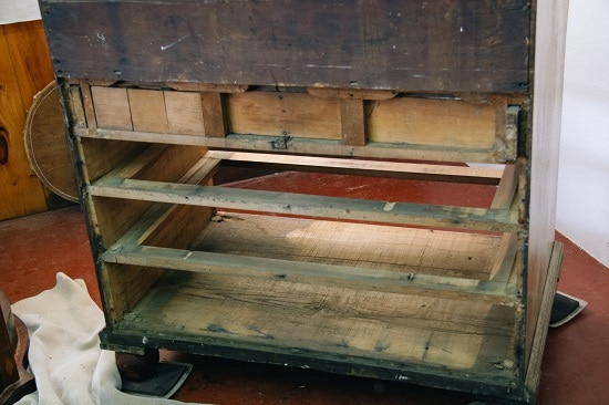 Drawer runners repair antique chest.