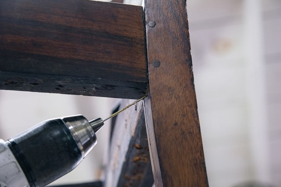 Angle Drilling to repair loose chair.