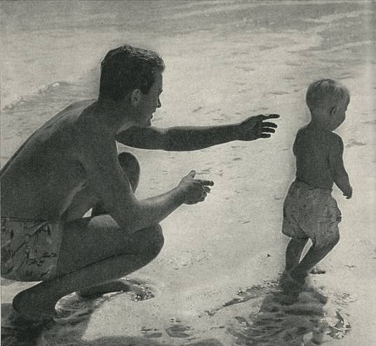 vintage father child on beach