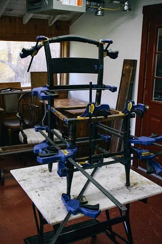 glued and clamped chair
