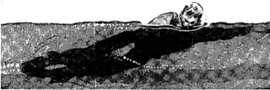 Vintage WWII swimming side stroke# 2 illustration.