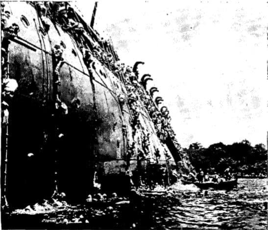 Abandoning U.S.S. President Coolidge WWII.