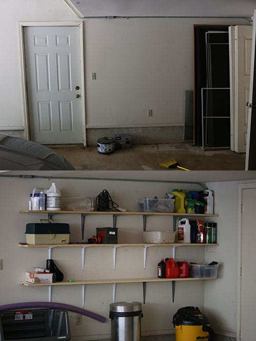 garage wall with homemade shelves - Organize Garage
