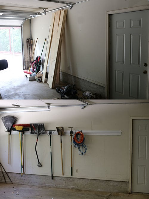 before and after garage wall rack