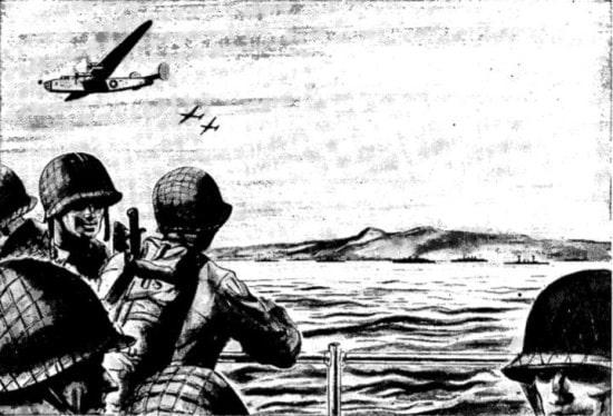 Vintage WWII illustration.