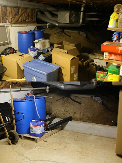 Before and after garage emergency water.