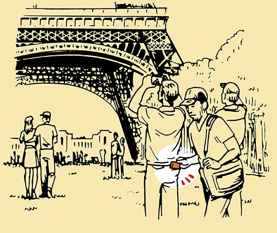 pickpocket eiffel tower illustration