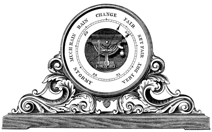 decorative aneroid barometer for a mantle