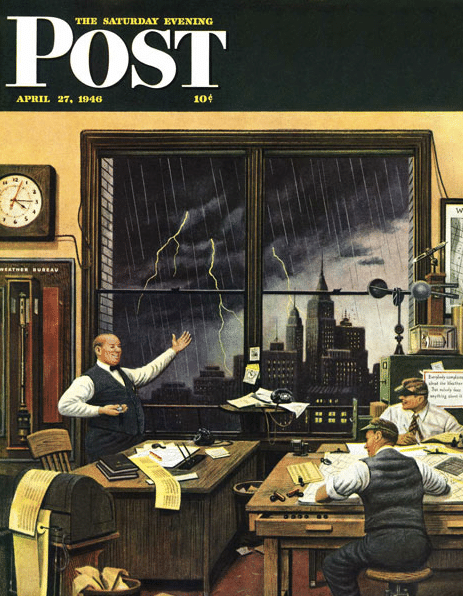 Vintage saturday evening post cover april 1946 meteorologists forecast.