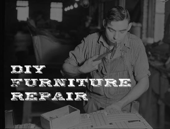vintage furniture maker repairing chair