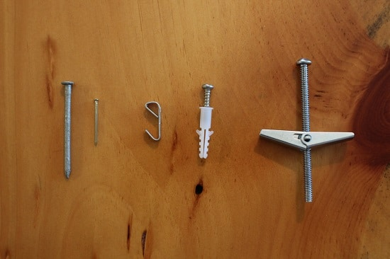 ways to hang picture nails, hook, wall plug anchor, toggle and bolt anchor