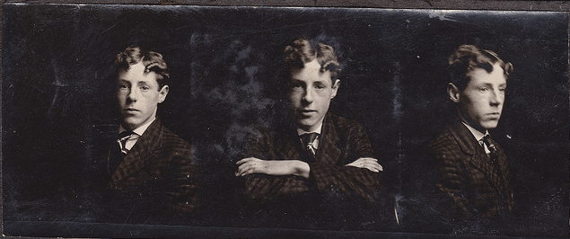 three portraits of vintage young man