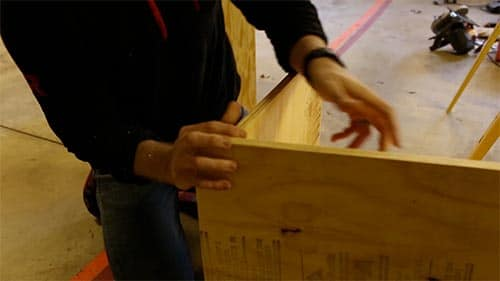 Putting plywood boards together at 90 degree angle.