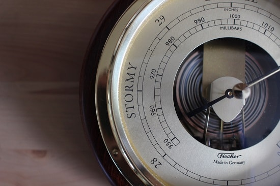Stormy reading on aneroid barometer.