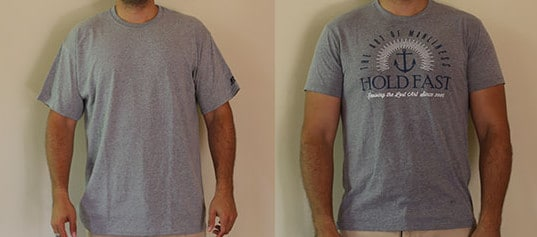Mens wearing t-shirts one with design and other without design.