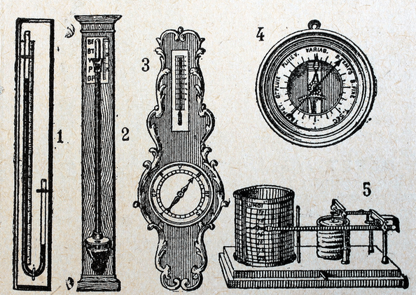 types of barometers vintage illustration