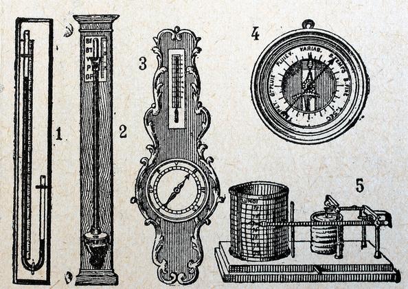 types of barometers vintage illustration