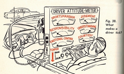vintage illustration emotions of driving a car
