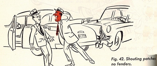 car accident man yelling vintage illustration
