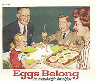 vintage advertisement for eggs 1950s