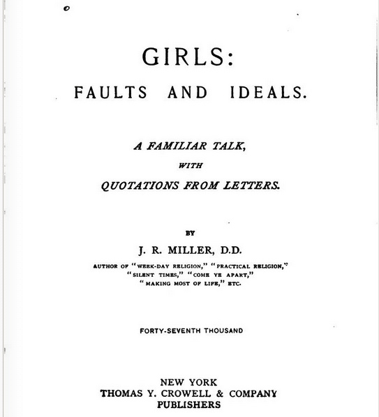 girls: faults and ideals book cover j r miller