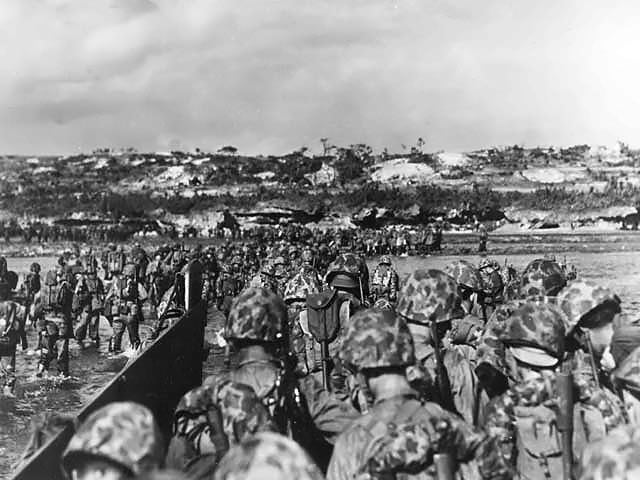 Marines begin battle of Okinawa beaches