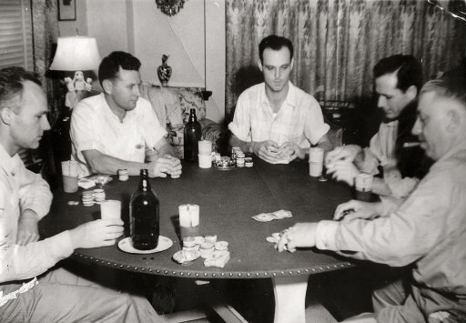 1950s vintage guys playing poker night