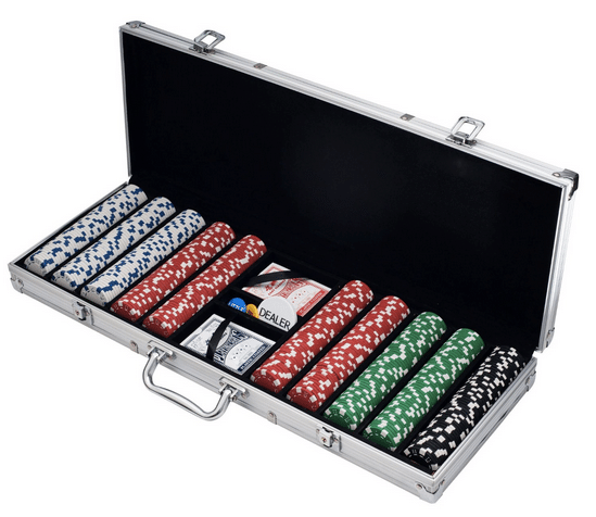 Poker set with 500 chips in aluminium carrying case.