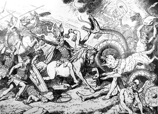 Vintage Viking illustration Ragnarok.