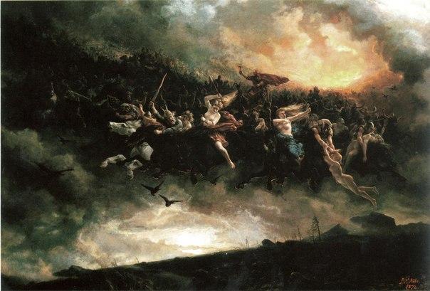Painting Norse Viking mythology Ragnarok.