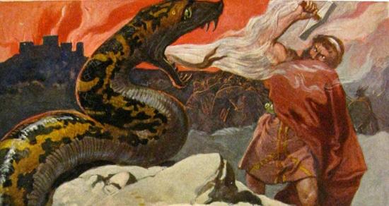 Thor and Jormungand.