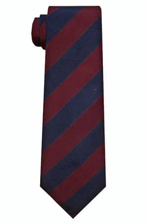 Regimental tie navy and maroon stripes.