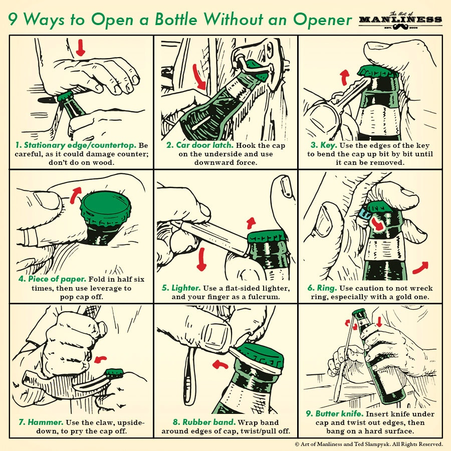 9 ways to open a bottle without an opener.