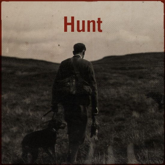 Hunting with a dog.