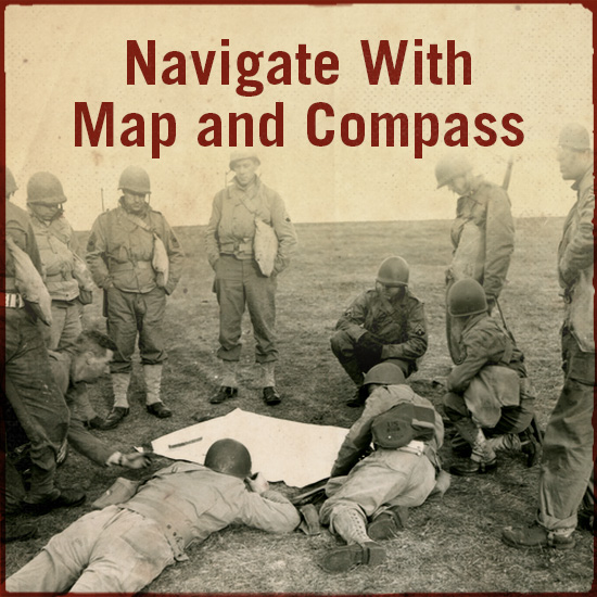 Navigating with map and compass.