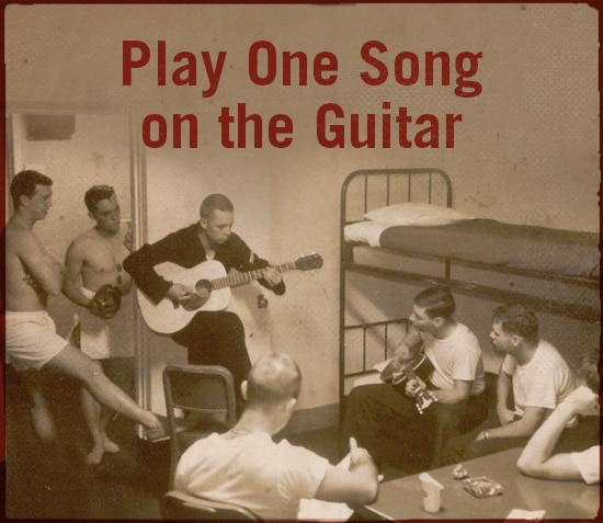 Play one song on the guitar.