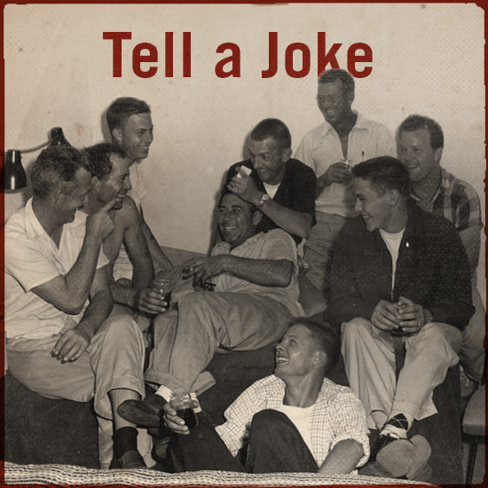 A man is telling a joke to his friends.